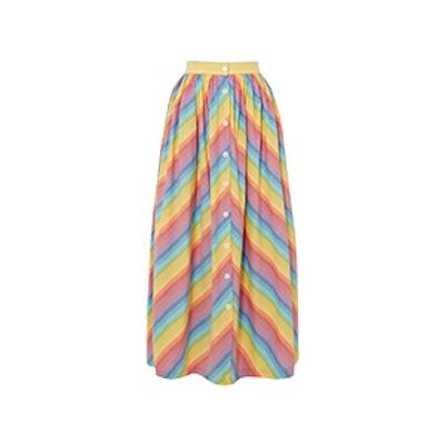 Striped Cotton-Poplin Midi Skirt