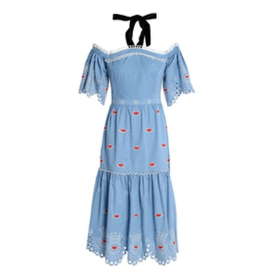Off-The-Shoulder Embroidered Cotton-Poplin Midi Dress