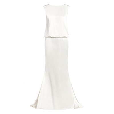 Ava Satin-Backed Crepe Gown