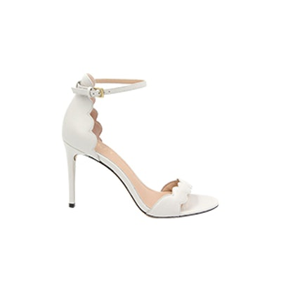 Ava Scalloped Leather Heeled Sandals