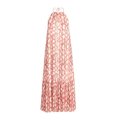 Harriet Snakeskin Printed Silk Chiffon Maxi Dress