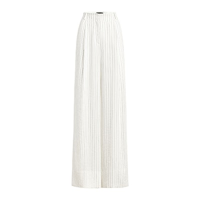 Lee Pinstripe Pleated Wide-Leg Pants