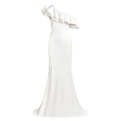 Lizette One-Shoulder Ruffled Fluid Sequin Gown