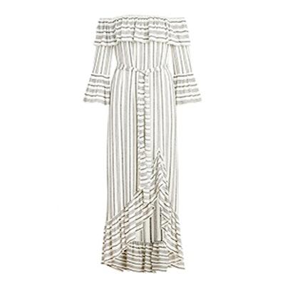 Viola Off-The-Shoulder Dobby Stripe Maxi Dress