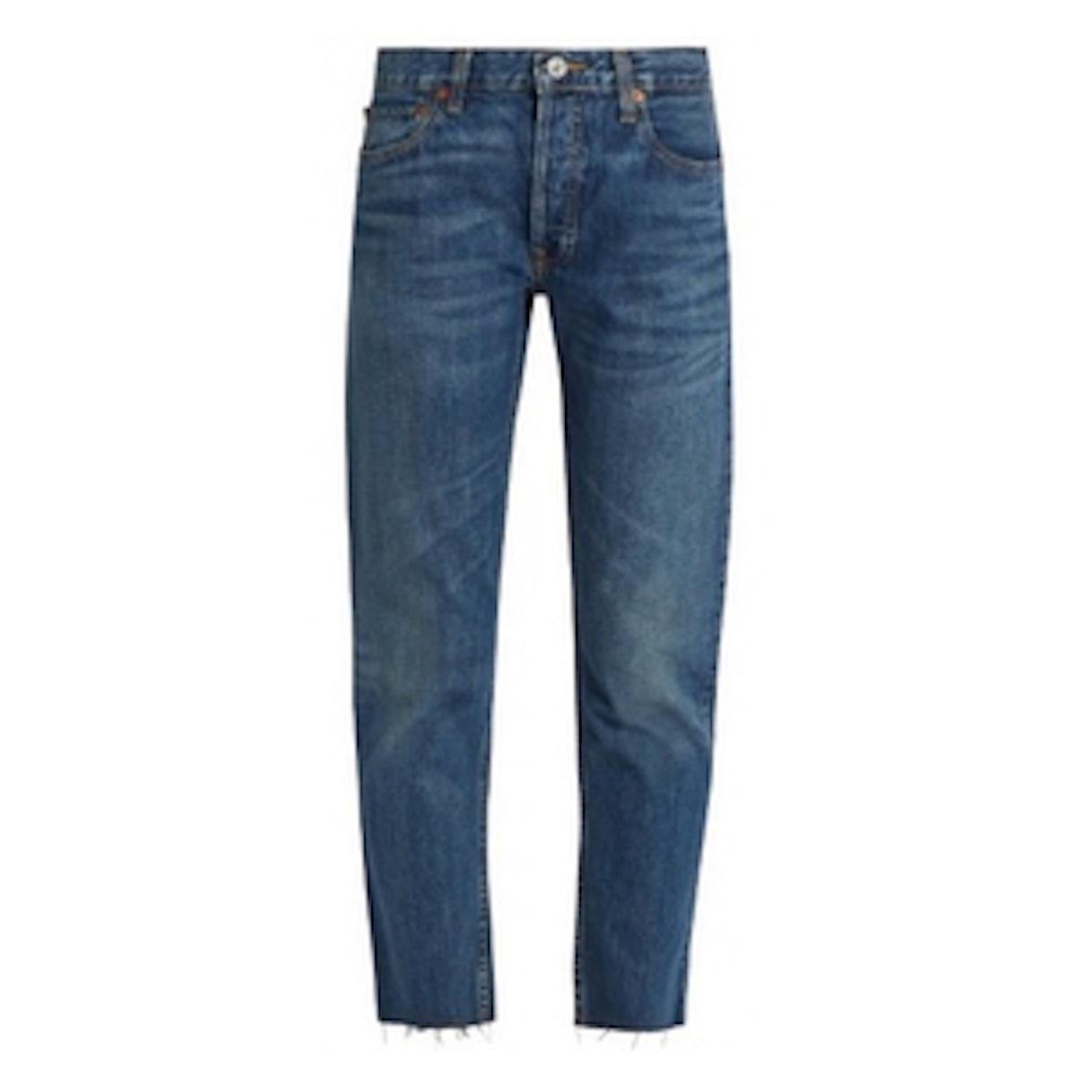 Mid-Rise Slim-Leg Cropped Jeans