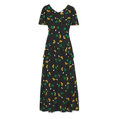 Evie Ruffled Floral-Print Silk Crepe De Chine Maxi Dress