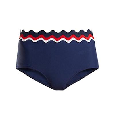 RYE Balmy Scallop-Edged High-Rise Bikini Briefs