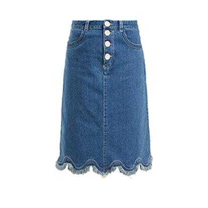 Scalloped Hem Denim Midi Skirt