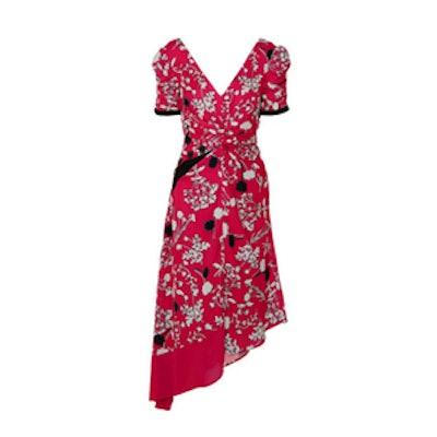 Self-Portrait Asymmetric Floral-Print Crepe De Chine Midi Dress