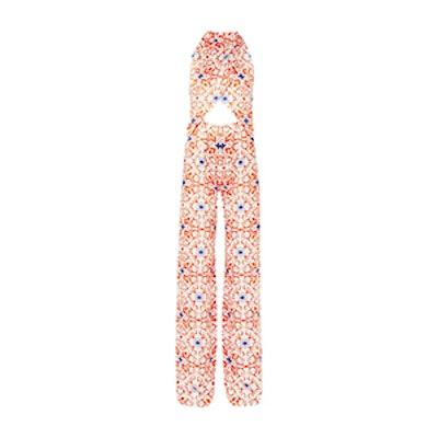 Soiree Cutout Printed Silk-Satin Jumpsuit