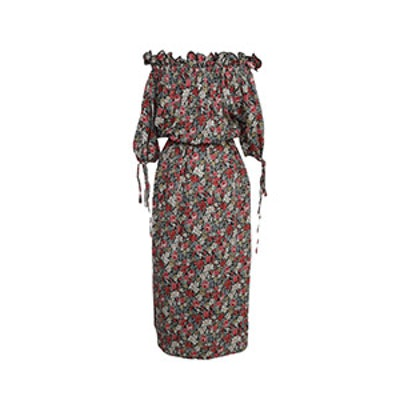 Floral Print Off-Shoulder Floral Dress