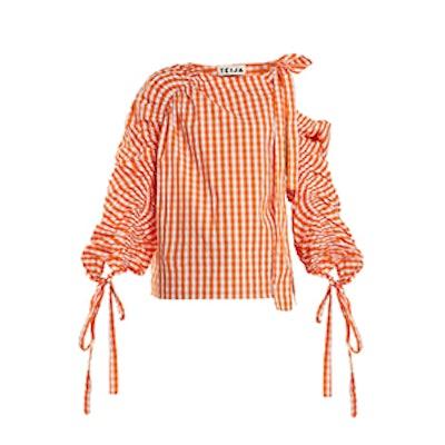 Teija Asymmetric Cotton-Gingham Top