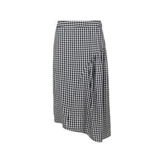 Viscose Gingham Shirred Skirt