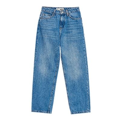 Moto Mid Blue Straight Cropped Jeans