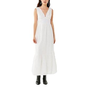 Embroidery Eyelet Maxi Dress