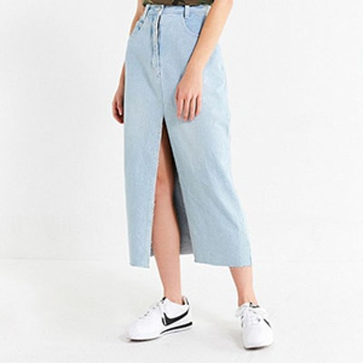 Vintage Slit Denim Midi Skirt