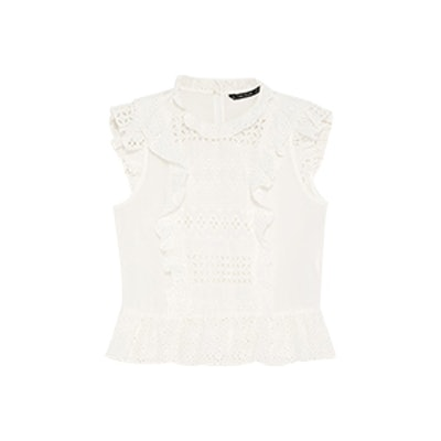 Blouse With Contrasting Cutwork Embroidery
