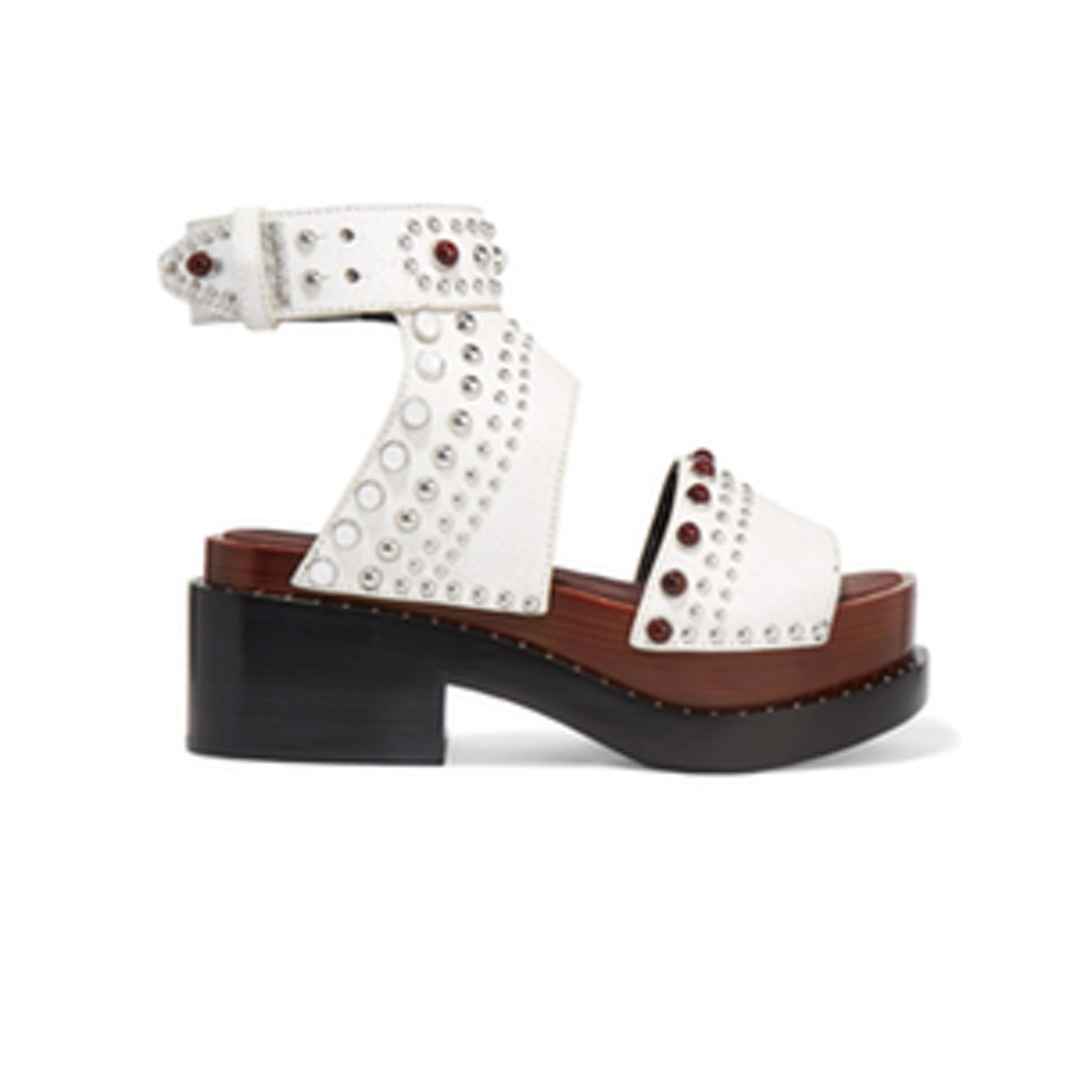 Studded Cracked-Leather Platform Sandals