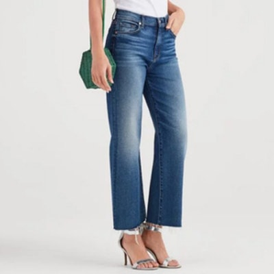 Luxe Vintage Cropped Alexa With Cut Off Hem in Femme
