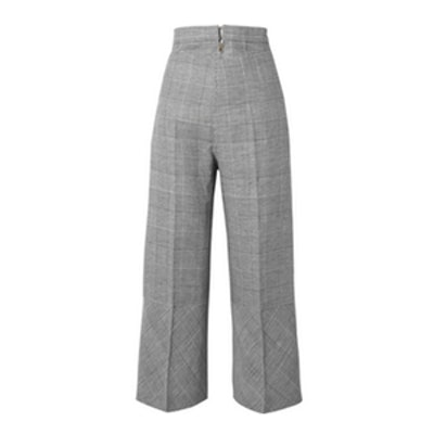 Prince of Wales Checked Wool-Blend Wide-Leg Pants