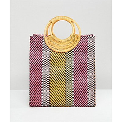 Stripe Straw Mini Shopper Bag With Bamboo Handle