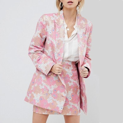 Tailored Floral Jacquard Blazer And Mini Skirt Suit