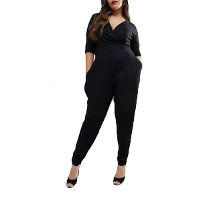 Curve Wrap Jumpsuit with 3/4 Sleeve