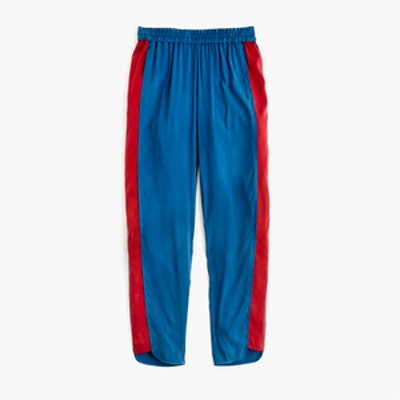 Stripe-Inset Cupro Pant