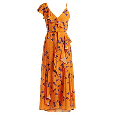 Isadora Orchid-Print Ruffle-Trimmed Crepe Dress