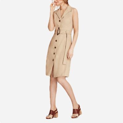 Linen-Blend Trench Dress