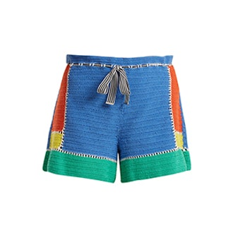 Diane von Furstenberg Paperbag-Waist Crochet-Knit Shorts