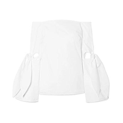 Ellery Lopez Off-The-Shoulder Cutout Cotton-Poplin Top
