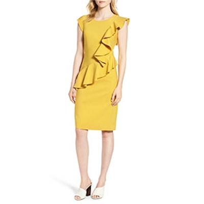 Emerson Rose Ruffle Trim Sheath Dress