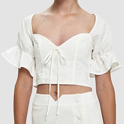 Raylee Cropped Linen Blouse