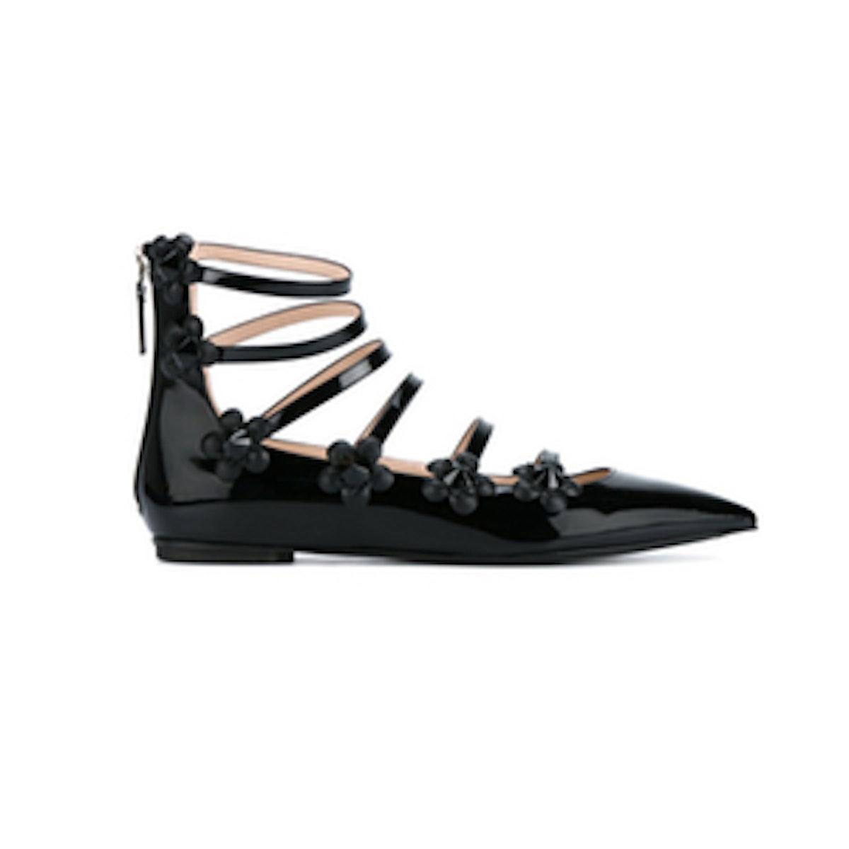 Fendi Black Flower Patent Leather Ballet Pumps