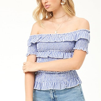 Tee Ink Linen Striped Smocked Top