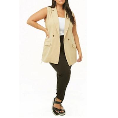 Plus Size Longline Double-Breasted Vest