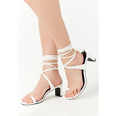 Faux Leather Toe-Ring Wraparound Heels