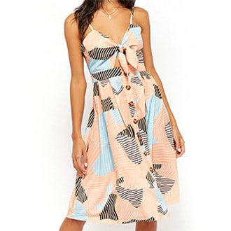 Geo Print Cutout Dress