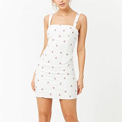 Linen-Blend Cherry-Embroidered Dress