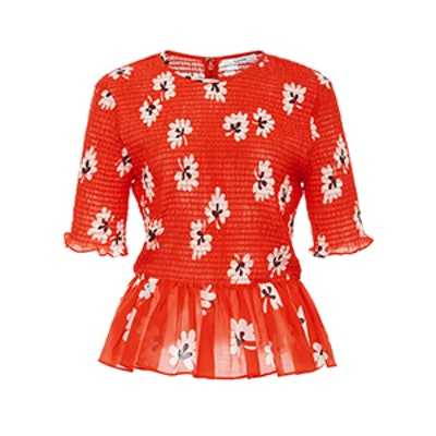 Linaria Floral Smocked Peplum Cotton-Blend Top