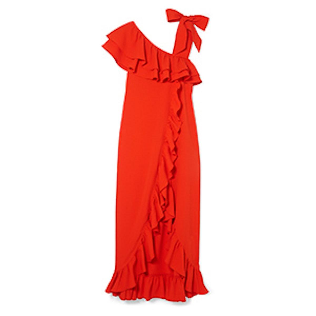 Clark Ruffled Stretch-Crepe Maxi Dress