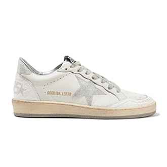 Ball Star Glittered Distressed Leather Sneakers