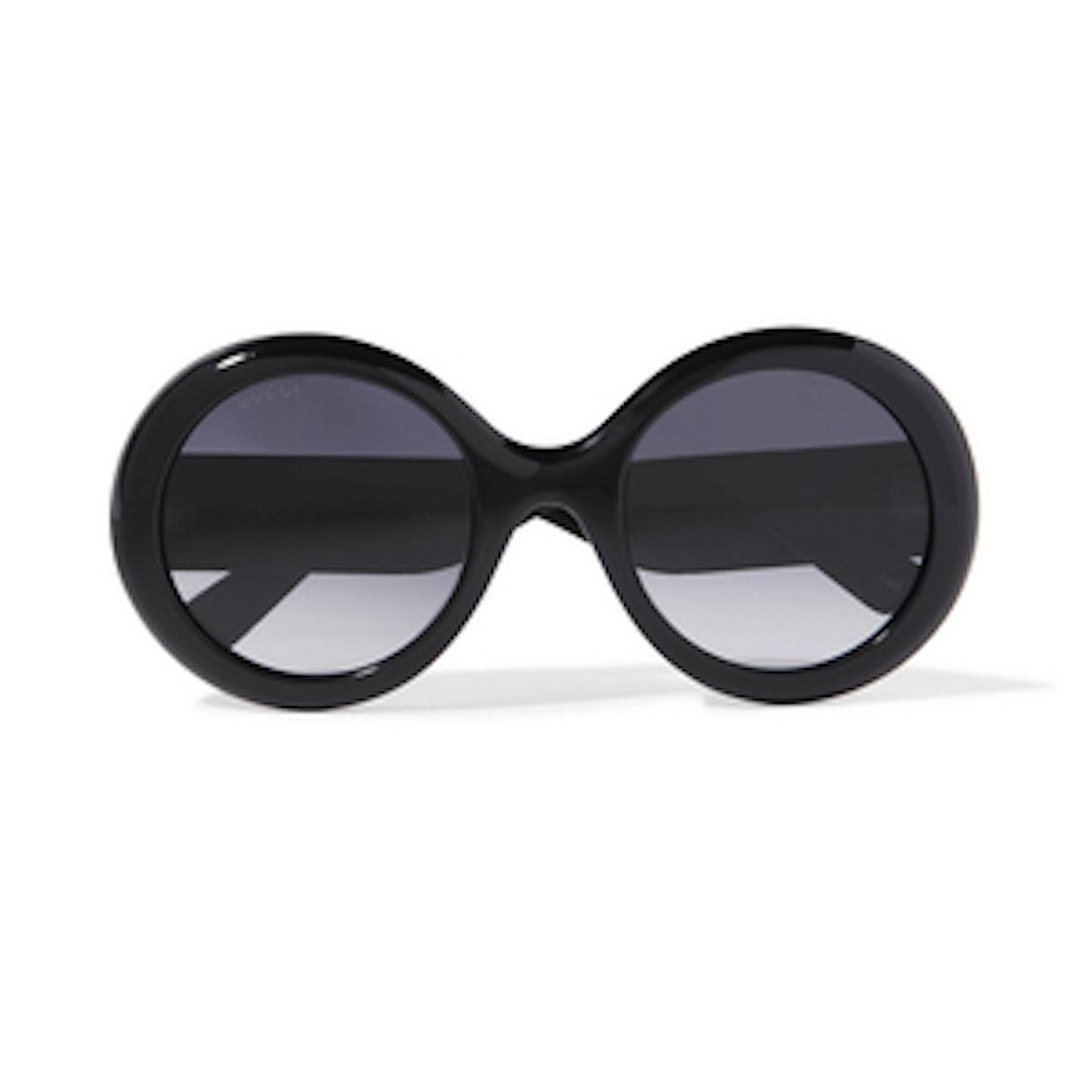Gucci Round-Frame Glittered Acetate Sunglasses
