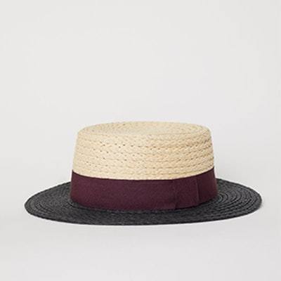 Color-Block Straw Hat