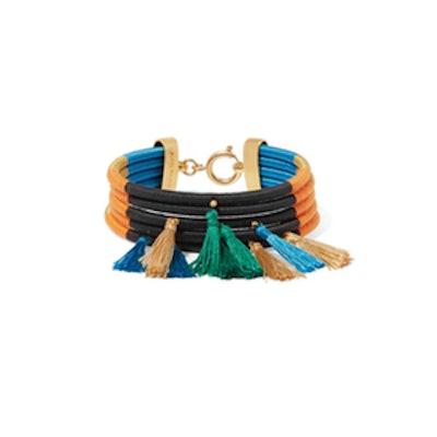 Tasseled Gold-Tone And Cord Bracelet