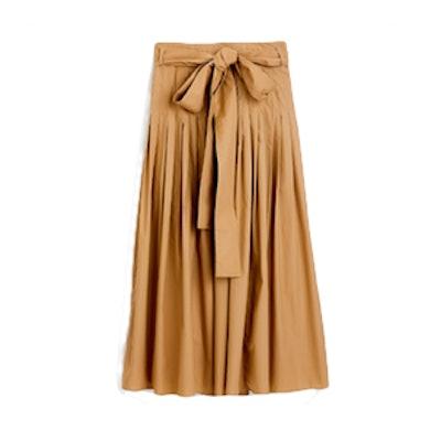 Pleated Cotton Poplin Midi Skirt