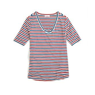 Jersey V-neck T-shirt in Stripe