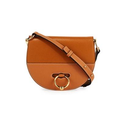 Latch Goatskin Leather Saddle Shoulder Bag