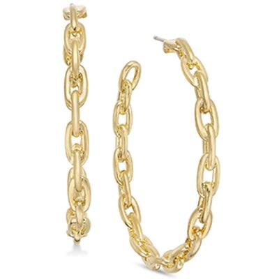 Gold-Tone Large Link Hoop Earrings